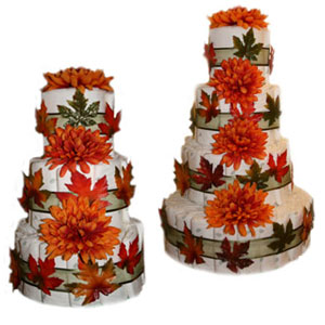 Fall Baby Shower Cakes http://www.growinstyle.com/blog/index.php/diaper-cakes/fall-fantasy-diaper-cake-end-of-season-sale/