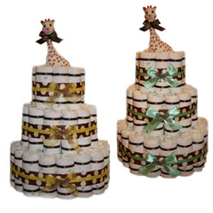 3 Tier Polka Dot Diaper Cakes