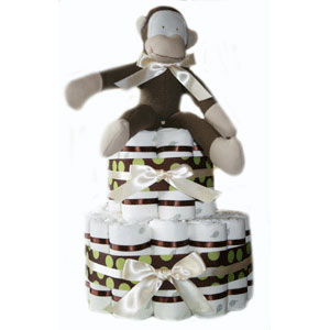 2 Tier Brown Monkey Diaper Cake
