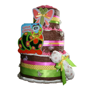 Organic 3 Tier Butterfly Diaper Cake