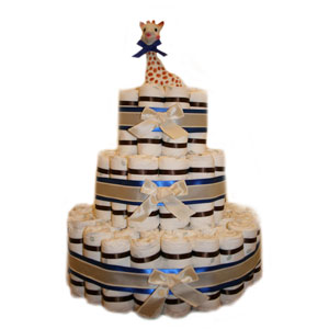 Elegant 3 Tier Blue Diaper Cake
