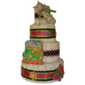 Organic 4 Tier Curious Caterpillar Diaper Cake