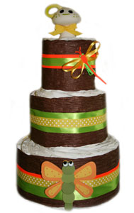 3 Tier Dragon Fly Organic Diaper Cake