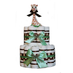 Organic 2 Tier Green Polka Dot Diaper Cake
