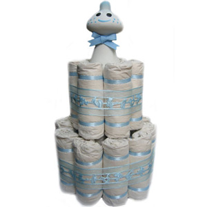Organic 2 Tier Blue Rattle Mini Diaper Cake