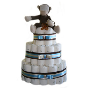 3 Tier Monkey Organic Diaper Cake
