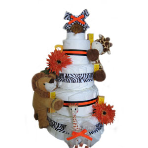 Organic 5 Tier Orange Safari Deluxe Diaper Cake