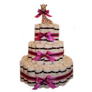 Elegant Pink 3 Tier Diaper Cake