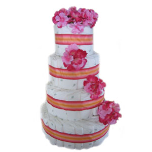 Organic 4 Tier Heavenly Pink Diaper Cake