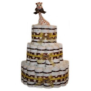 Organic 3 Tier Yellow Polka Dot Diaper Cake