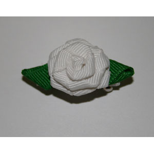 French Barrett White Rose Handmade Hair Clip