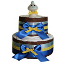 2 Tier Yellow Polka Dot Organic Diaper Cake