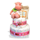 Organic 2-Tier Hippo Diaper Cake or Centerpiece