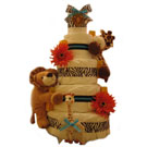 Organic 5 Tier Blue Safari Deluxe Diaper Cake