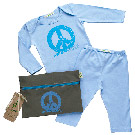 Organic Baby Blue Outfit Kit - Peace